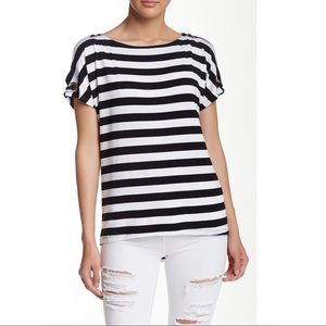 Cable & Gauge Grommet Shoulder Striped Blouse S